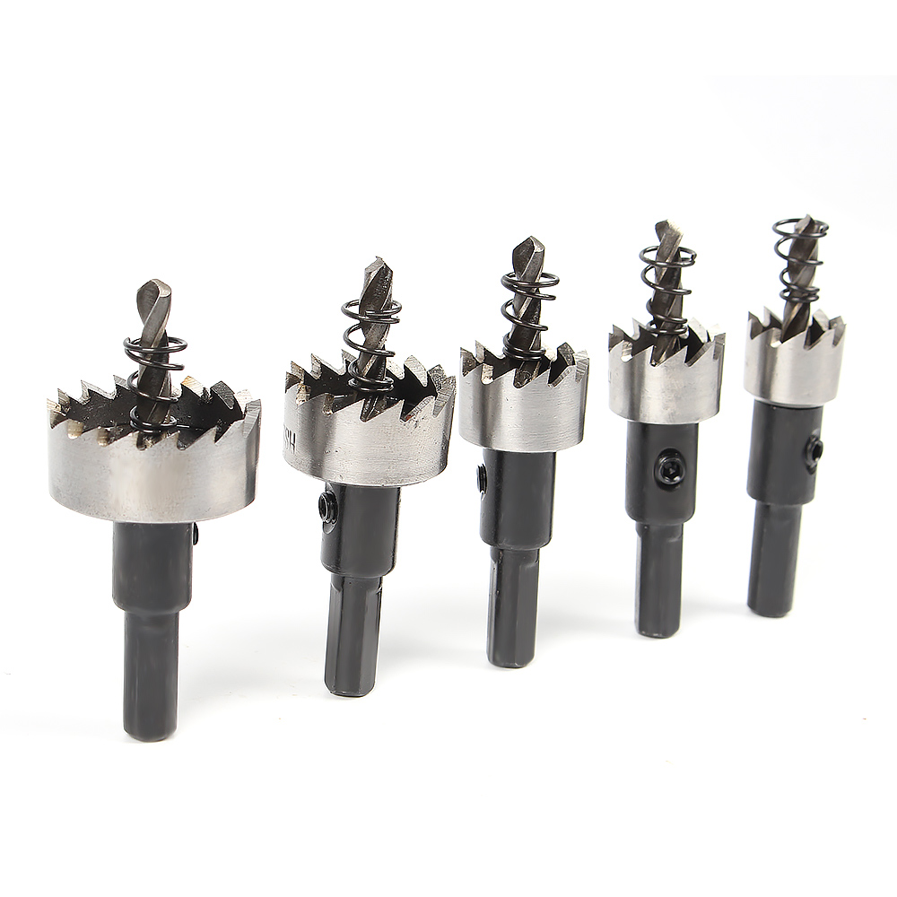 5pcs High Speed Steel Drill Bit Hole Saw Set Cutting Plastic Wood Aluminum Hole Saw Hand Power Tool Set new 50mm concrete cement wall hole saw set with drill bit 200mm rod wrench for power tool