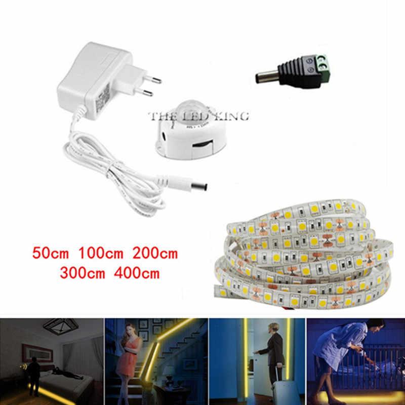 PIR Motion Sensor taśma LED światło 5050 wodoodporne łóżko szafka światło 1m 2m 3m 5V USB taśma LED lampa podświetlenie tv + 2A moc