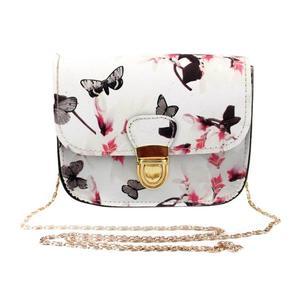 Chaude papillon sac à main chaîne sac à main fleur impression fourre-tout sac à bandoulière dames sac à main Mini petit paquet(China)