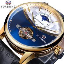 otomatik erkek ロイヤルブルー男性機械式時計自動ゴールデンケースムーンフェイズ黒革ファッション Forsining
