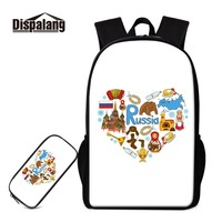 Dispalang Russia Elements Stylish Printing on Knapsack and Pencil Box Bag for Girl Teen Schoolbags with Pen Case School Supplies
