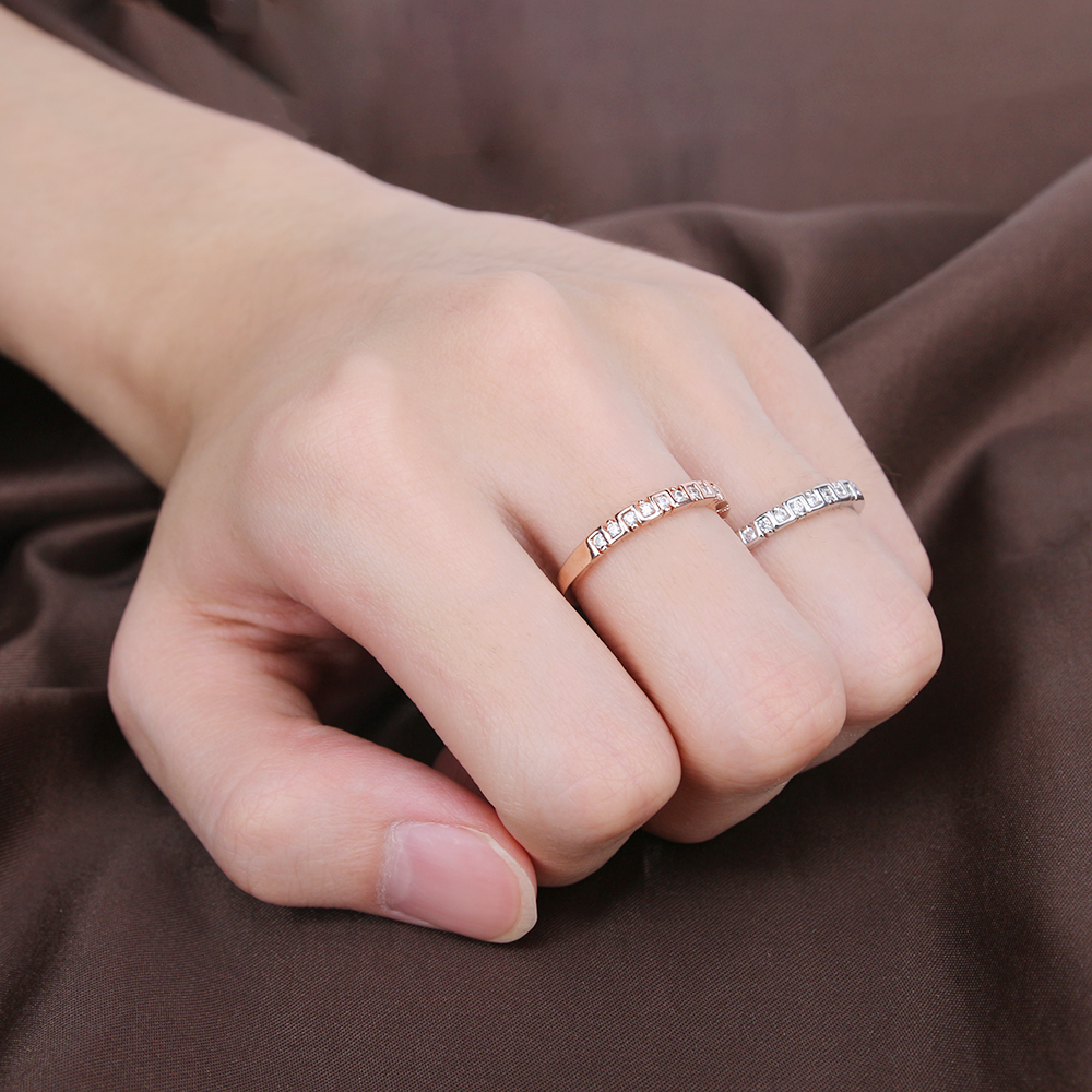 2017 Unique Design Simple thin Rings Micro Inlays Cubic Zirconia ...