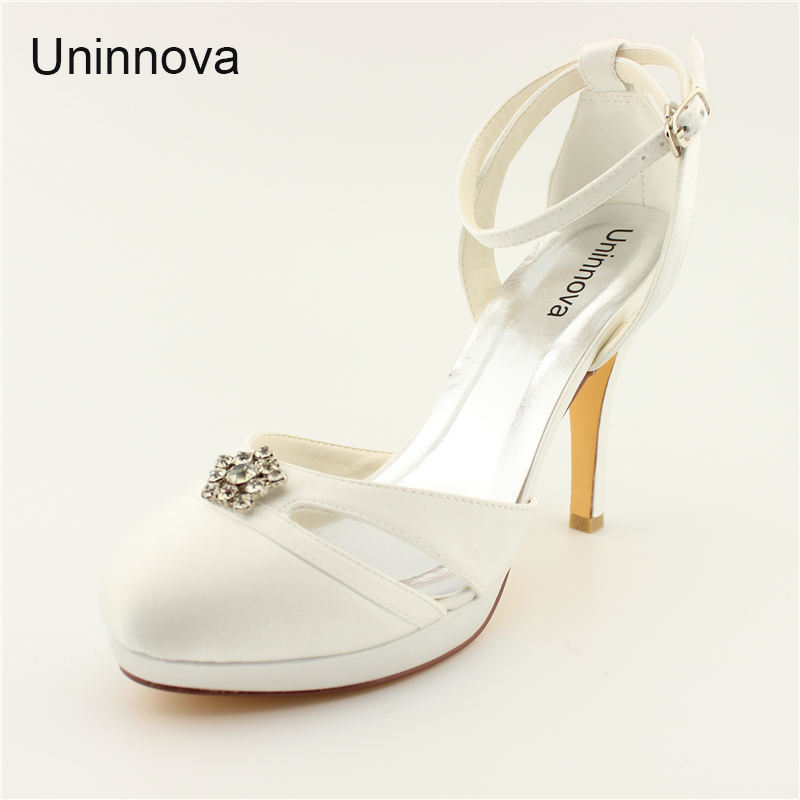 Round Toe Crystal Elegant Platform Super High Heel Wedding