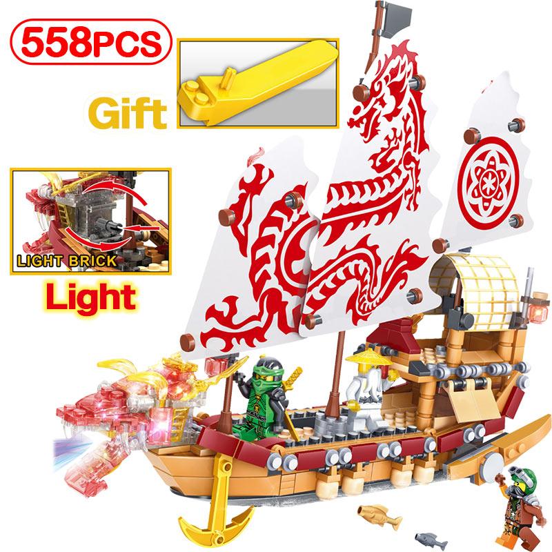 LegoINGLY Ninjago Movie Pirate Dragon Ship 558pcs LED Crystal Light Bricks Kits Model Building Blocks Children's Toy Gifts