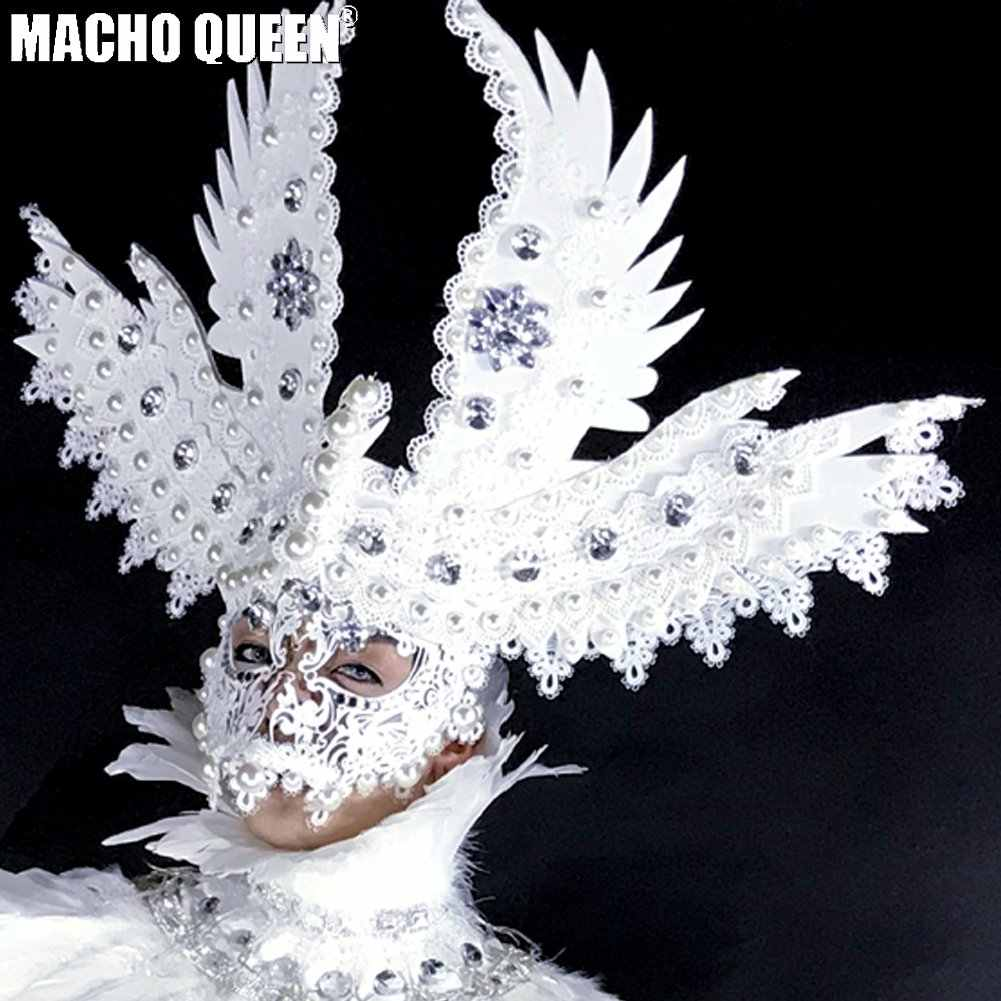 2d3c6788ba6cf Detail Feedback Questions about Burning Man Rave Costumes Drag Queen  Accessories Halloween Headdress Angel Mask Wear Festival Clothes Outfits  Stage Gear ...