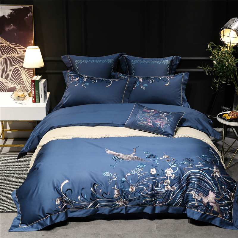 Oriental Embroidery 100S Egyptian cotton Blue Luxury Bedding set 4/7Pcs King Queen size Duvet cover Bed sheet Set Pillowcases 36
