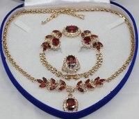 Nobility Jewelry lady bridal jewelry Women Crystal Set RED zircon Necklace Earring Ring Bracelet