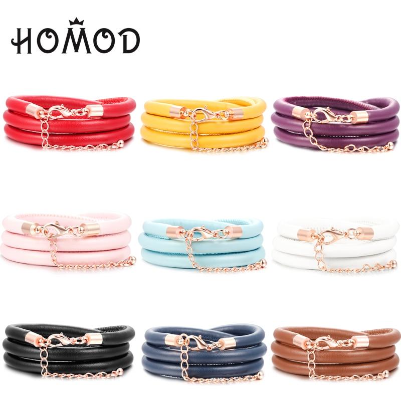 HOMOD 1PCS Rose Gold color Lobster Clasp Triple Leather Bracelets & Bangles For Women Charm Bracelet DIY Jewelry