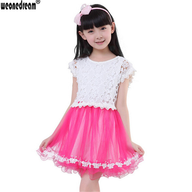 bc18eca5188 WEONEDREAM 2017 New Hot Sale Summer Beautiful Girls Dresses 3 Colors Short  Sleeve Hollow Out Butterfly Edge Design Kid Clothes