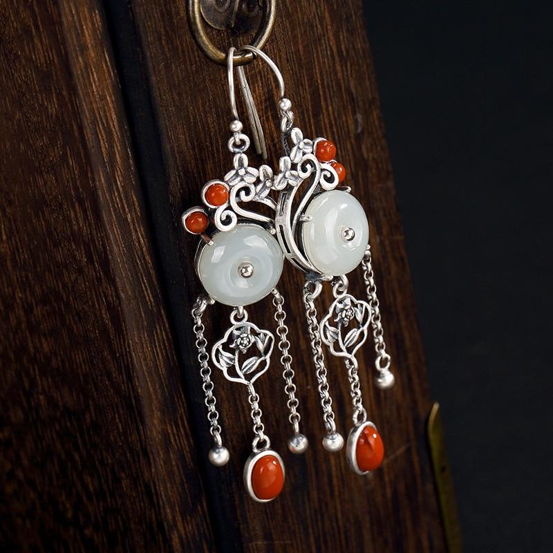 Argent 925 boucle d'oreille pierre précieuse naturelle Jade paix boucle longue gland boucles d'oreilles pour les femmes avec Onyx rouge bijoux personnalisés