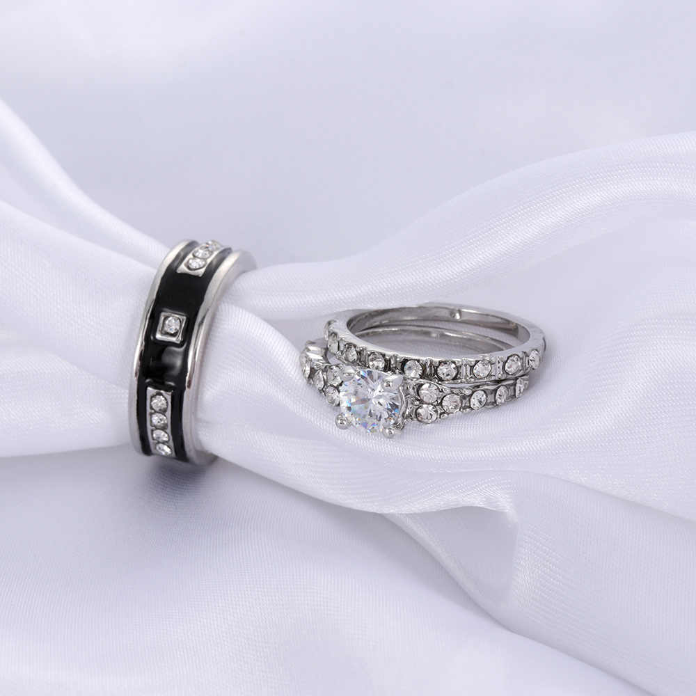 Fashion Crystal CZ Stone Wedding Engagement Rings for Couples Stainless Steel Ring for women men Jewelry