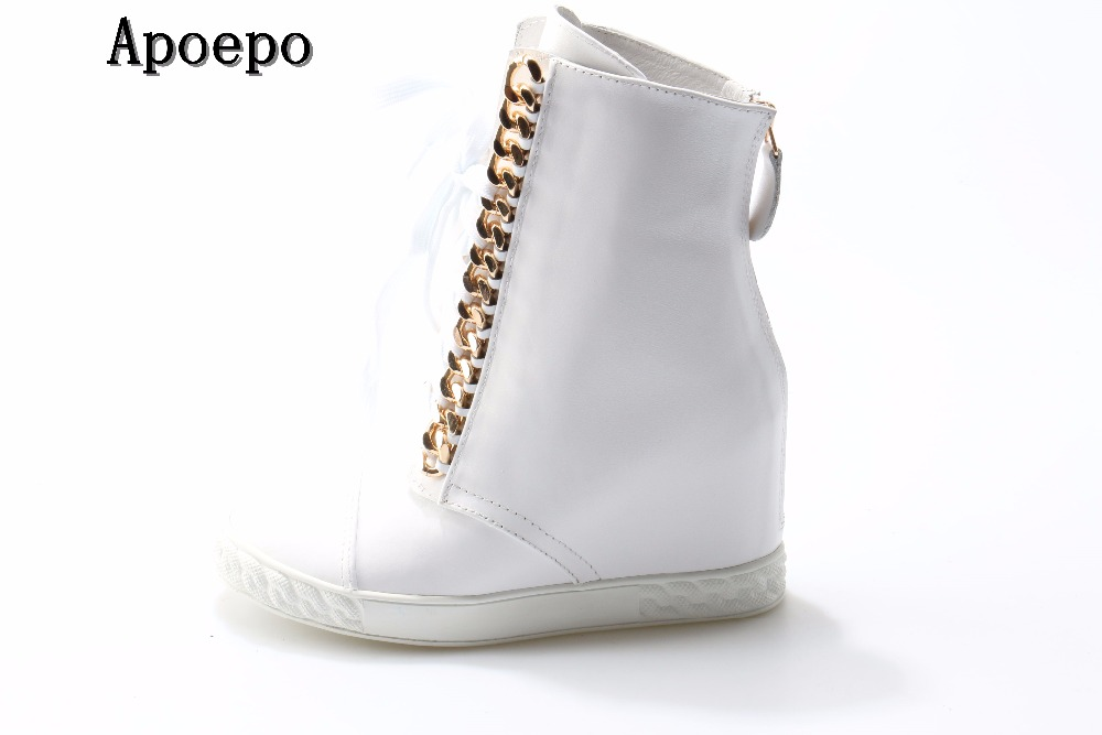 hot selling white leather ankle boots 2018 fashion height increasing short boots metal decorations lace-up casual shoes люстра benetti classic ardore золото белый 3хе14 коллекция cls 007