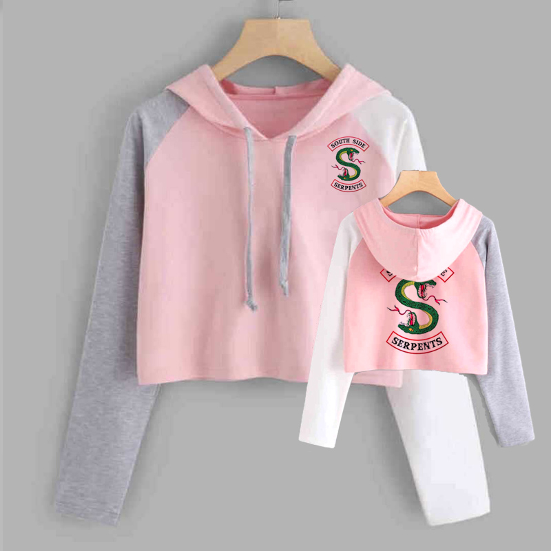 Cropped Riverdale Hoodie Women South Side Serpents Harajuku Riverdale Southside Short Sweatshirt Pullover Tracksuit Outwear