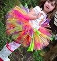 Красочные Детские Петти туту девушки пачка балетная пачка пушистые юбки цвета юбки смешайте в одной skirtMOQ 1 шт. радуга туту юбка
