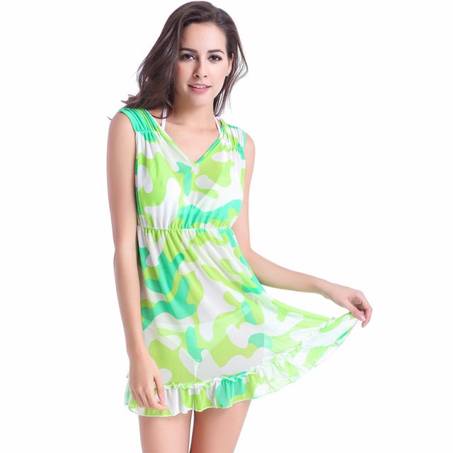 Feminine Puckering – shoulder Ruffles – Hem Beachwear V neck Camouflage Transparent Stretch Mesh Women's Beach dress Cover ups