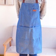 New cowboy hanging neck apron Korean fashion kitchen denim oil and anti-fouling restaurant overalls