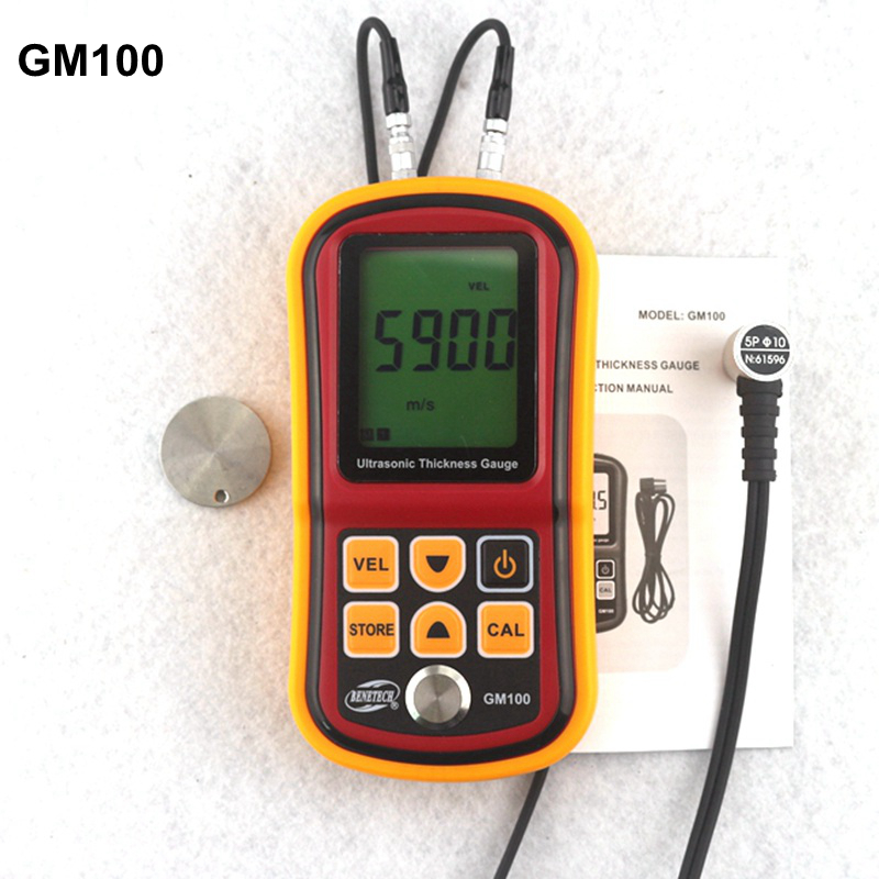 ФОТО GM100 Ultrasonic Thickness Gauge Metal Plate Width Measuring Tools 1.2~220mm (Steel) Sound Velocity Tester