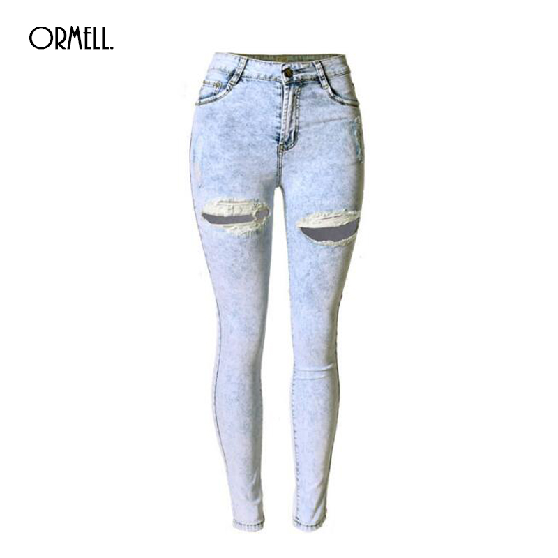 NEW 2016 Summer Ripped Denim Women Skinny Jeans Snow Wash Bleached Female Hole Pants For Women Fashion Style inc international concepts petite new diva wash skinny leg jeans 6p $69 5