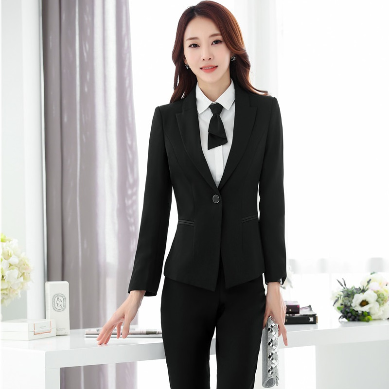 Ladies Formal OL Styles Pantsuits With Jackets And Pants Autumn Winter Blazers Pants Suits Plus Size 5XL Professional