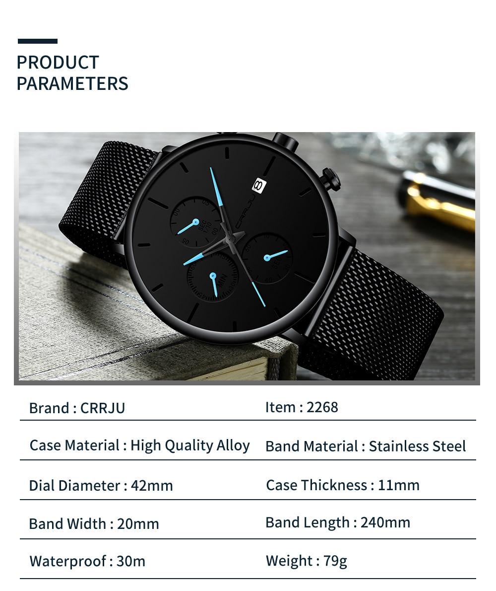 HTB1fD.dVzTpK1RjSZKPq6y3UpXa6 Mens Women StopWatches CRRJU Unique Design Luxury Sport Wrist Watch Stainless Steel Mesh Strap Men's Fashion Casual Date Watches
