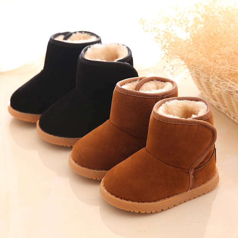 Winter Anti-skid cow muscle sole kiddie child snow boots plush warm cotton  shoes baby snow boots boys girls snow boots 2016 New db9c2cc1df58