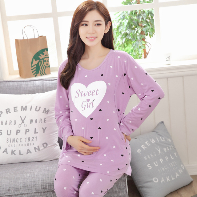 New Maternity Sleepwear clothes for Pregnant Women Pajamas Nursing Breast Feeding Nightgown Free shipping