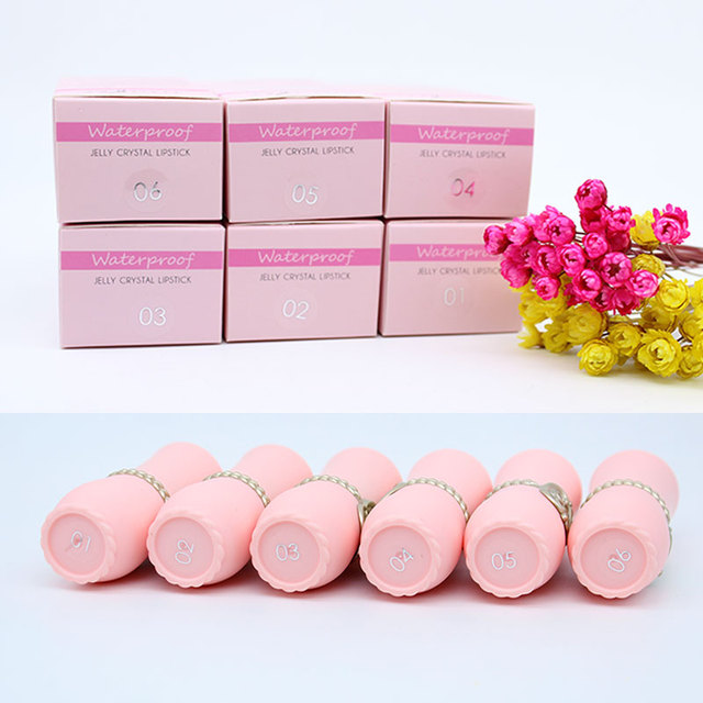 lipstick with Flower transparent color jelly changing lip stick long lasting  with 6 colors flowers lipsticks
