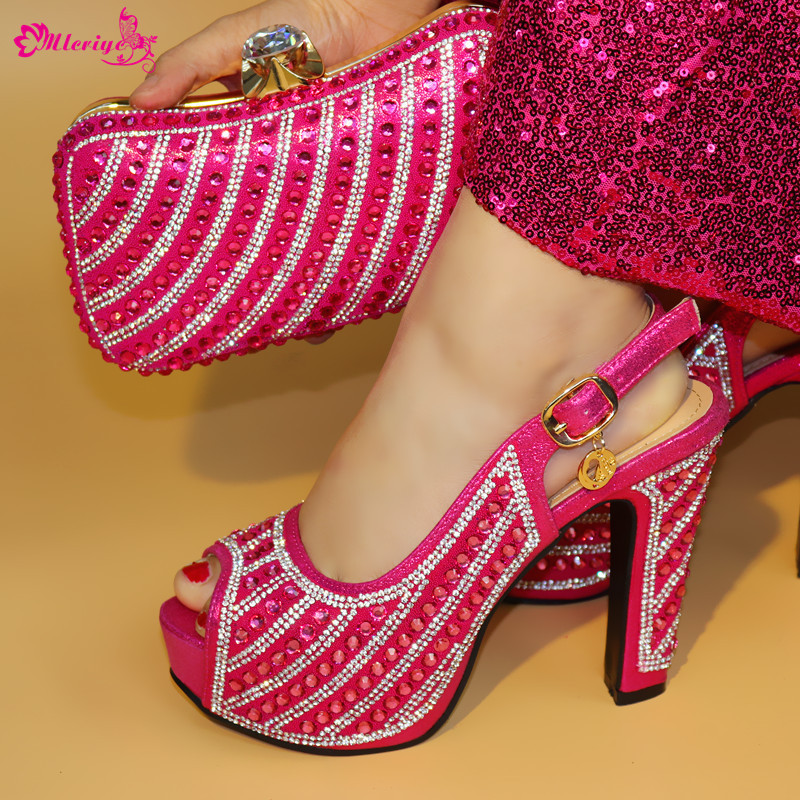 2872 fuchsia pink Thin Heels 12.5cm Shoes and Bag To Match Italian African Wedding Shoes and Bag Set Matching Italian Shoe and B doershow shoe and bag to match italian african shoe and bag set african shoe and bag to match for parties matching shoes bch1 66