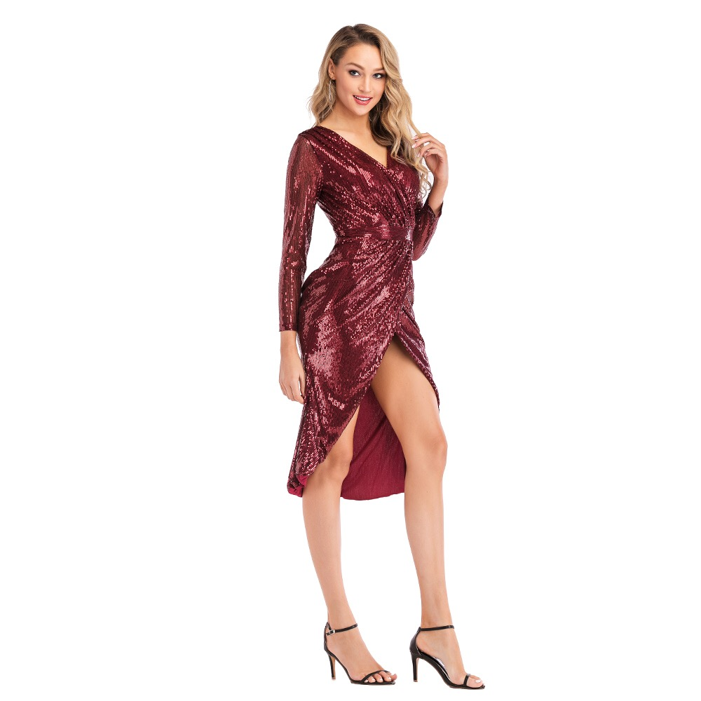 Gold Sliver Burgundy Sequin vestido Short   Cocktail     Dresses   Party Long Sleeves Graduation Women Prom Robe Semi Formal   Dress