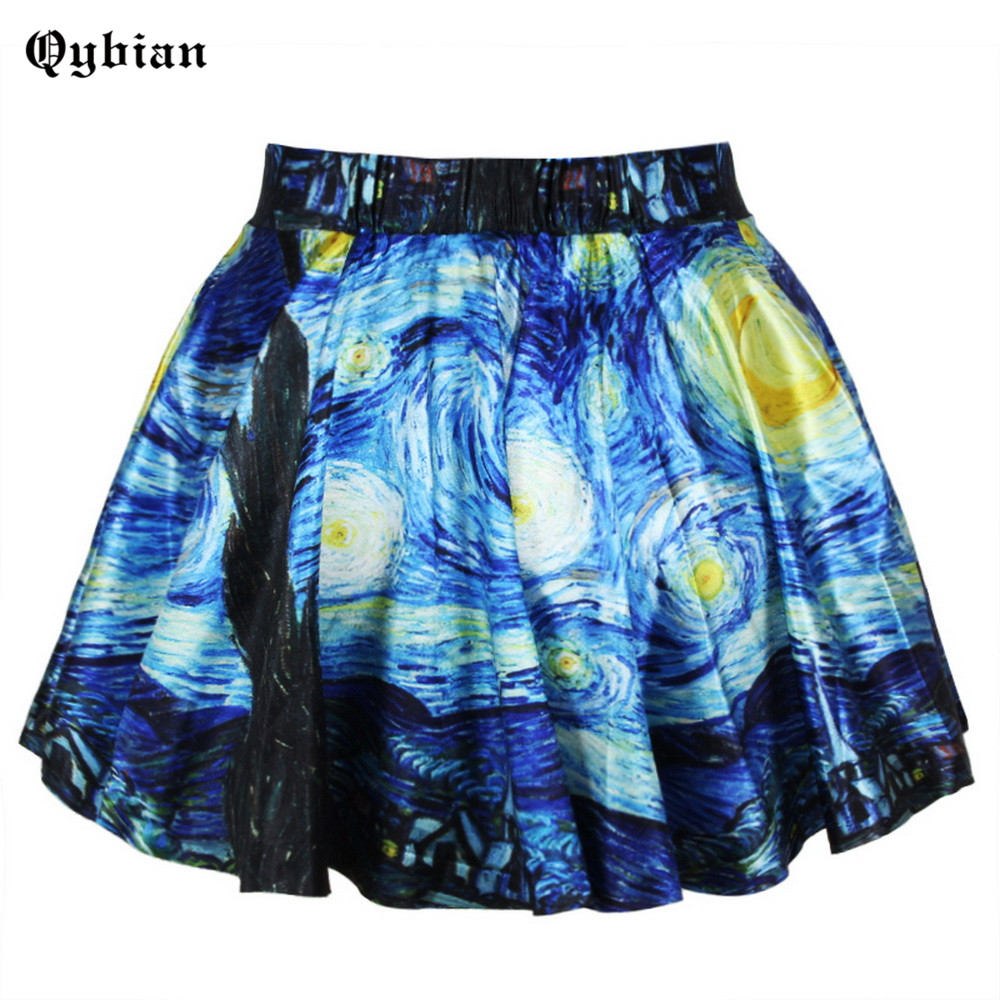 New Fashion Digital Floral Printing Fresh Style Pleated Skirt Map Whirlpool Gradient Forest Ball Gown Women Skirts