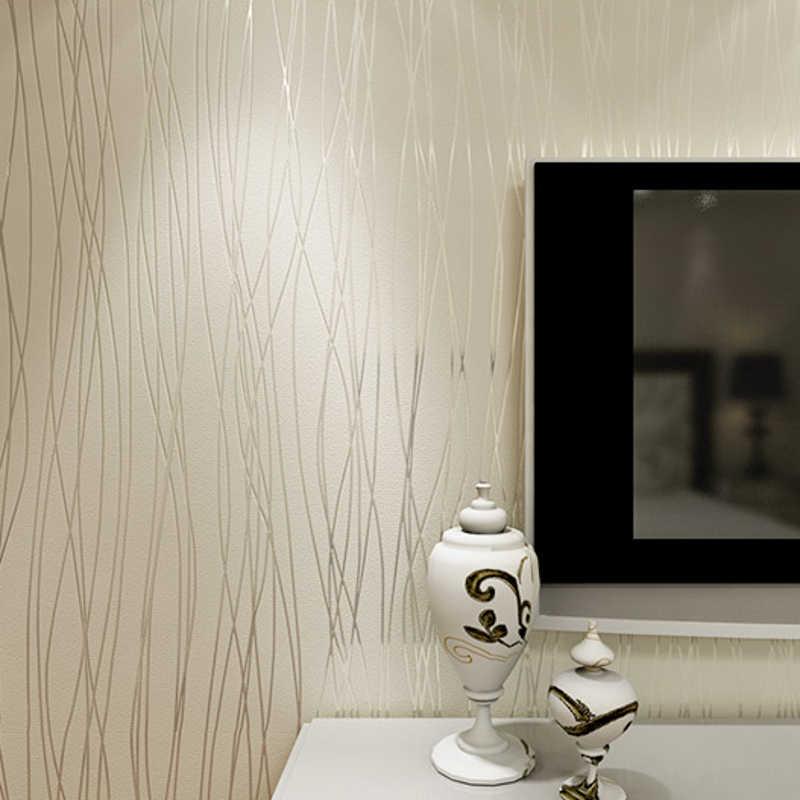 Обычная настенная бумага домашний декор для спальни гостиной настенные покрытия рельефные текстурные линии Современные полосы обои бежевый белый