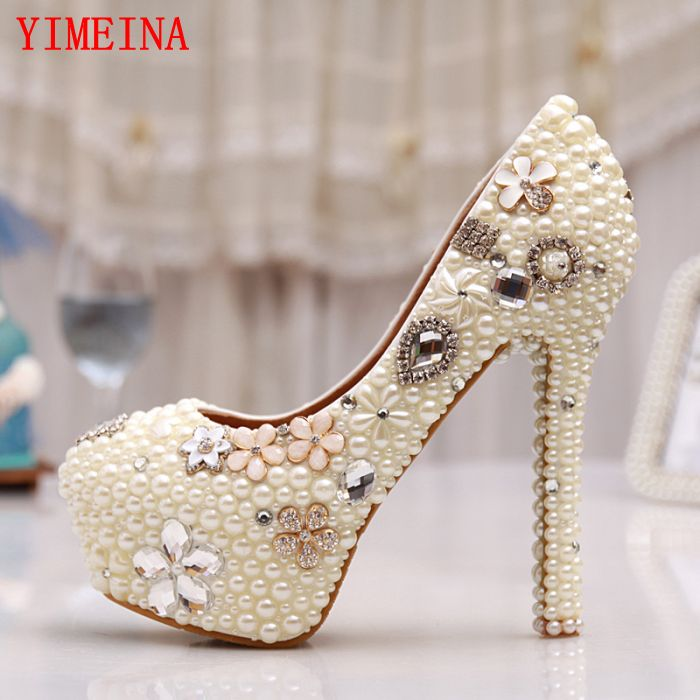 thin heels, pearls, diamonds, large, ultra - high heel platform shoe, shoes of high quality for the dating and wedding ceremony, the quality of accreditation standards for distance learning