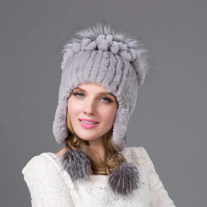 18b3a903a0220 Female models Autumn and winter Rex rabbit fur earmuffs cap cotton lining knitted  hat bomber cap