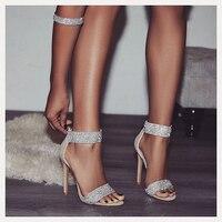 Super High Summer Pumps 12 CM Black Beige Suede Zip Close Crystal Woman Heels Platfrom Party Sandals Sepatu Wanita