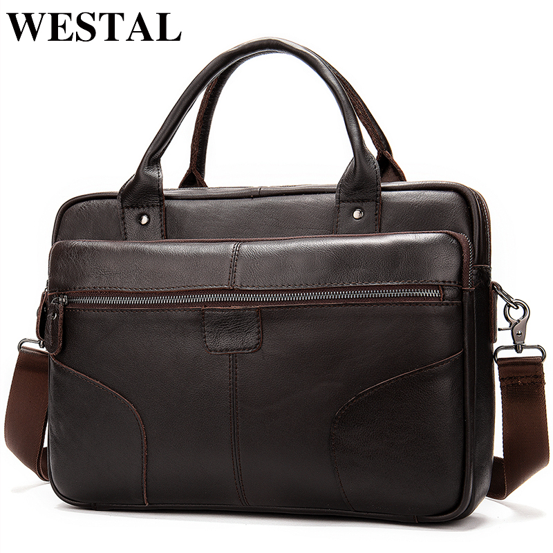 WESTAL bag men s genuine leather documents bag for men s shoulder bag male laptop briefcase