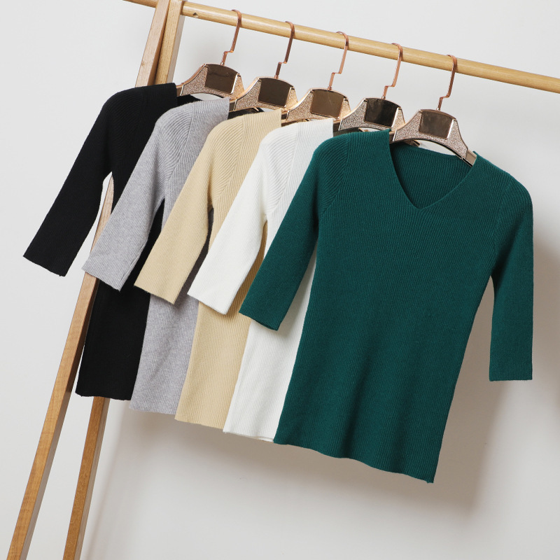 Queechalle 13 Colors New 2020 Autumn Knitted Pullover V Neck Half Sleeve Slim Sweater For Women M - XXL Plus Size Lady's Tops
