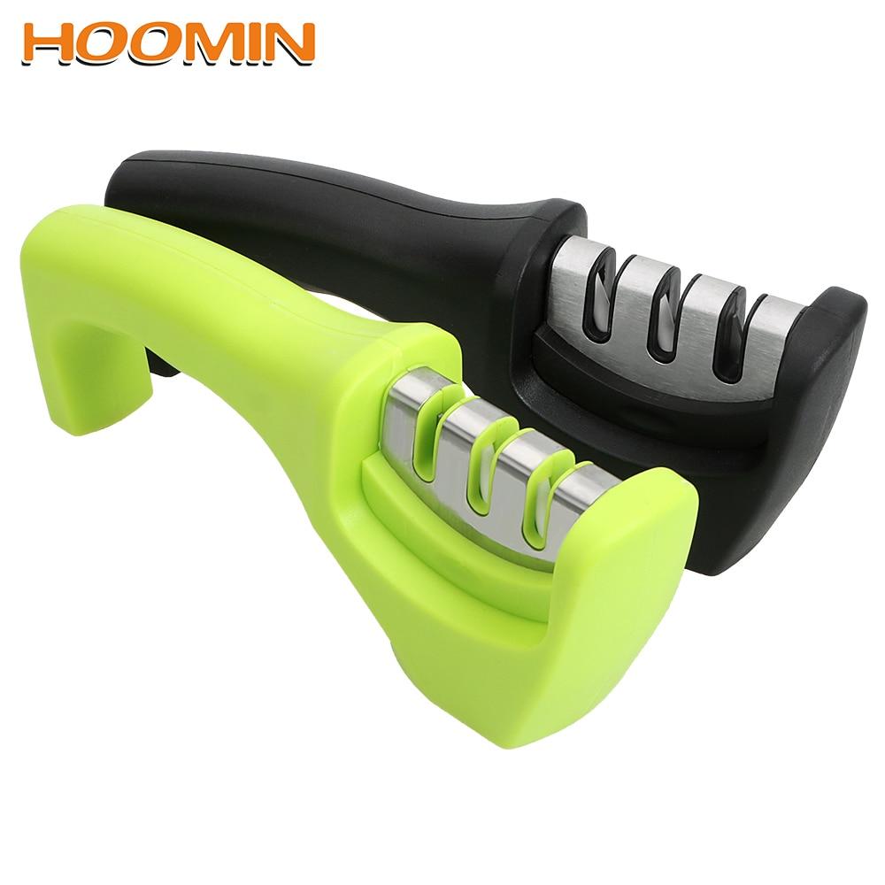 HOOMIN ножи точилка для ножей гаджеты для заточки кухня инструменты три этапа точильный камень