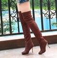 Sobre o joelho Botas Longas Botas Mulheres Outono Inverno fino Sapatos de salto alto De Camurça Botas Mujer Elasticidade Manga cinza preto marrom 34-43
