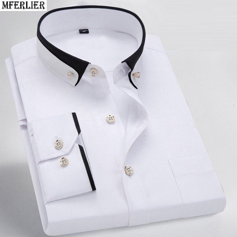 Image 2 - men dress shirt formal long sleeve large size big 7XL 8XL patchwork wedding shirts Pink navy blue 9XL 10XL 12XL blouse purple-in Casual Shirts from Men's Clothing