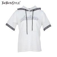 Twotwinstyle 2017夏女性セクシーなメカフードtシャツトップススパンコールレターtシャツカジュアル服韓国ファッションビッグサイズホワイト新しい