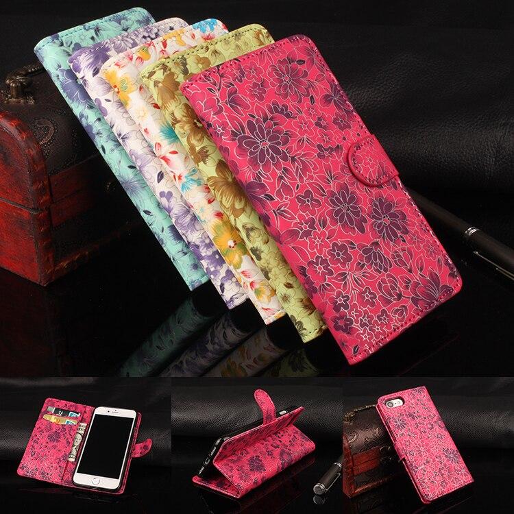Hongbaiwei бренд класса люкс Бумажник кожаный чехол для iPhone 7 S Флип Стенд Мода цветок карты телефон сумка для iphone 6 s 6 Чехол Коке