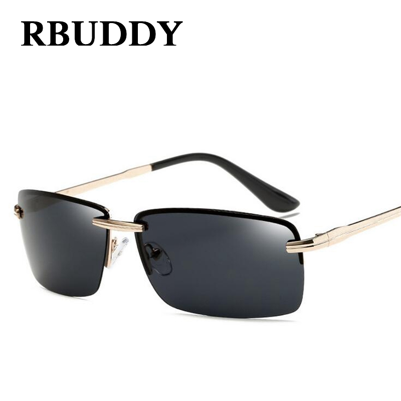 RBUDDY Men sunglasses luxury brand 2017 Summer polarized Metal Frame Rectangle Lens Gold ...