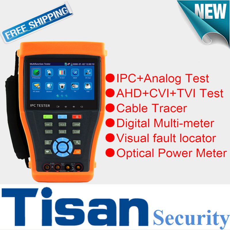 TVI AHD CVI TVI Analog camera cctv tester Monitor with Multi meter Optical Power Meter