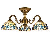 Blue Flower Bowel Chandelier Shell Cover Surface Mounted Ceiling Light European Mediterranean Hanging Lamps