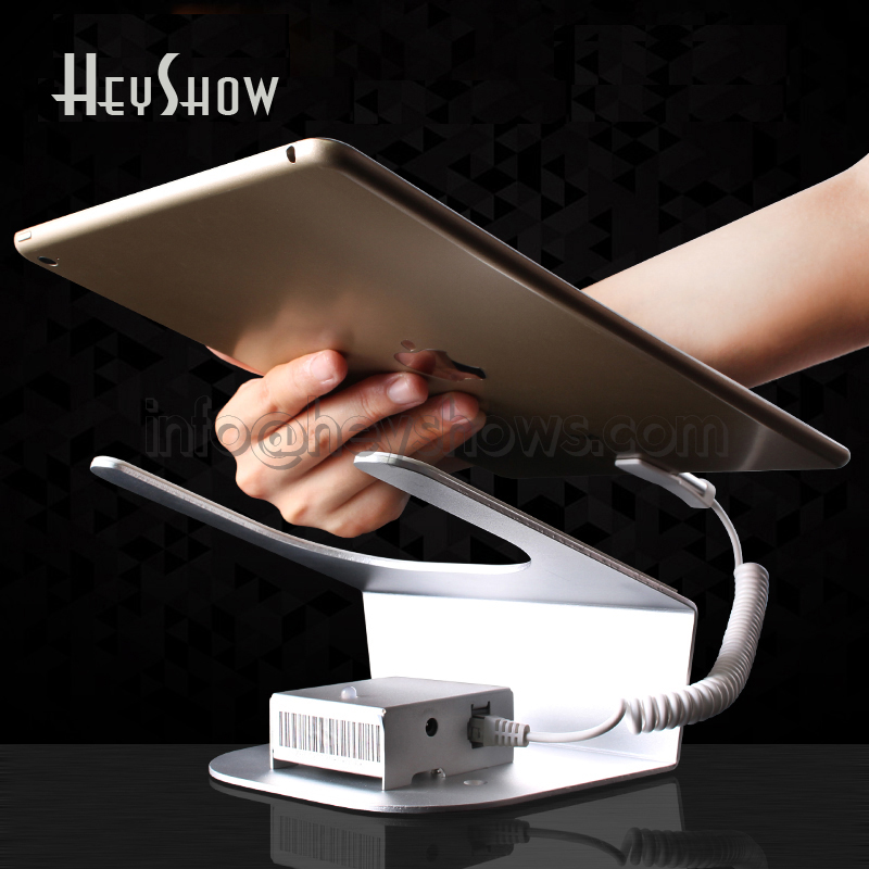 Ipad security display stand tablet holder alarm mount rack devices anti theft for retail shop with charging and alarm funtion retail store security display holder for ipad tablet pc with charging and alarm remote control