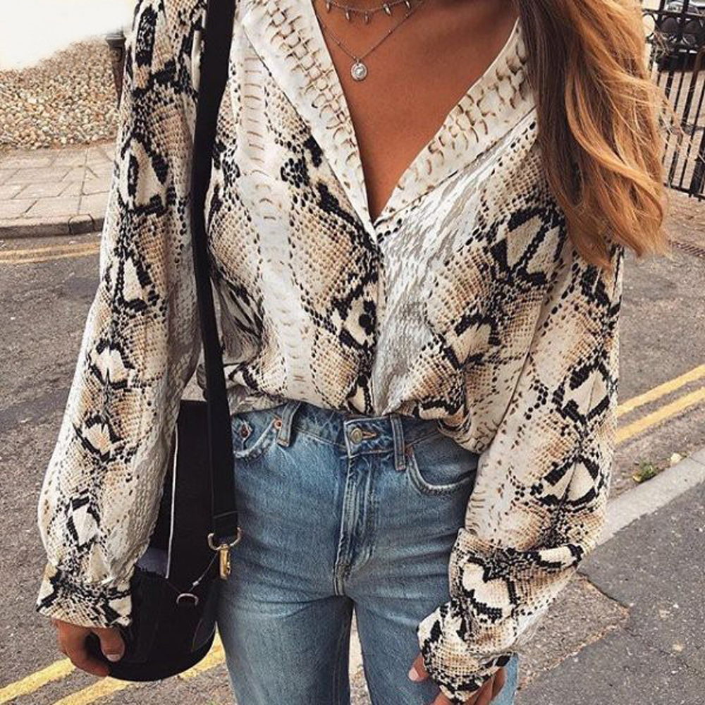 Bohemian Snakeskin Pattern Tops And Blouses Womens Shirts Vintage Elegant Long Sleeve Boho Women Blouse 2019 New Summer Sprinng