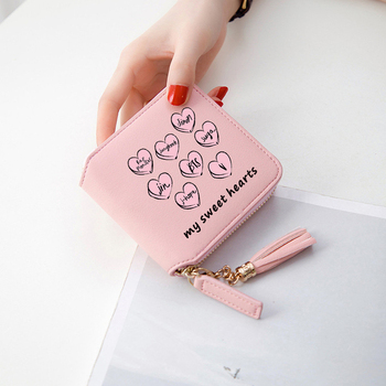 2018 New Arrival BTS Wallet My Sweet Hearts Short Zipper Card Wallet Girl Love For BTS Tassel PU purses Mini Customize Fans Gift jung kook bts persona
