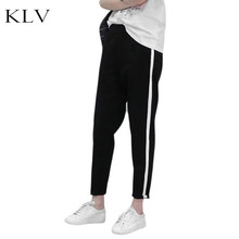Plus Size Spring Mid Waist Harem Pants Vertical Stripes Printed Long Jogger Trousers Slim Drawstring Elastic Bottoms With Pocket mid rise floral print linen drawstring jogger pants
