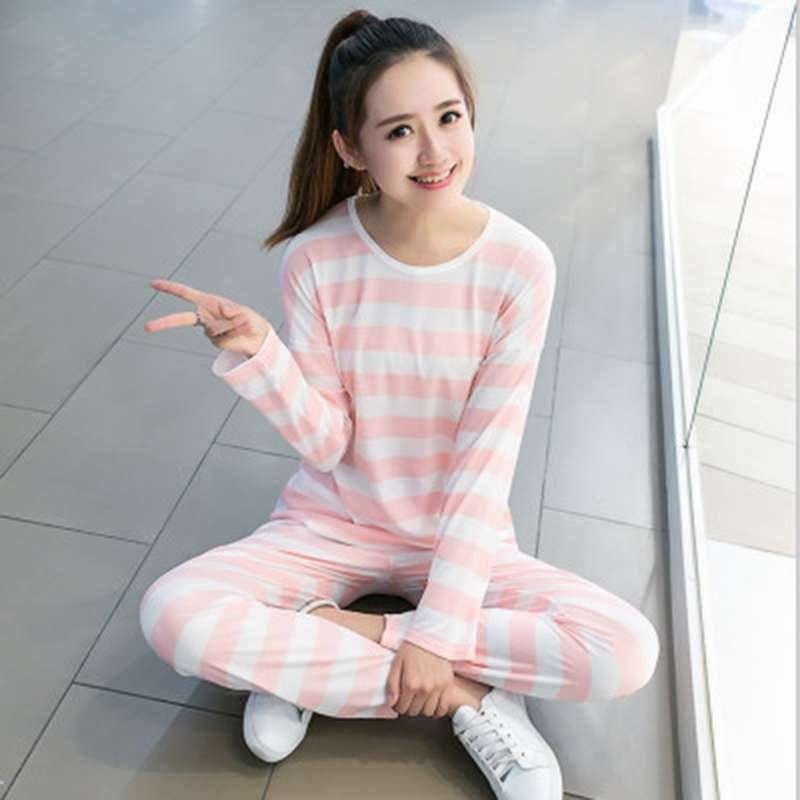 N 1   Set   Women Nightwear Sexy Striped Print Long Sleeve   Pajamas     Set   Plus Size Home Clothes 2018 Newest Top+Longpant