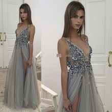 2019 Sexy Silver Gray Evening Dresses V Neck Illusion Bodice Sequins Beaded Split Backless Berta Prom dress